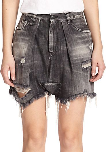 R13 Distressed Dropped-Rise Denim Shorts