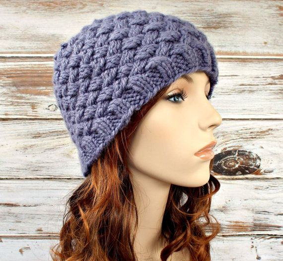 Knit Hat Womens Hat Harlow Diagonal Basket Weave Beanie Page Grey