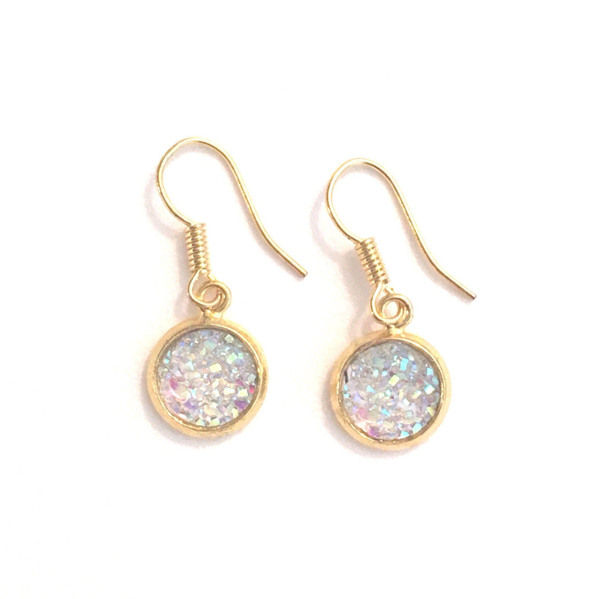 Blue Druzy Crystal Earrings Turquoise earrings Silver or Gold Earrings Bridesmaid gift beach wedding jewelry Crystals earrings Canada