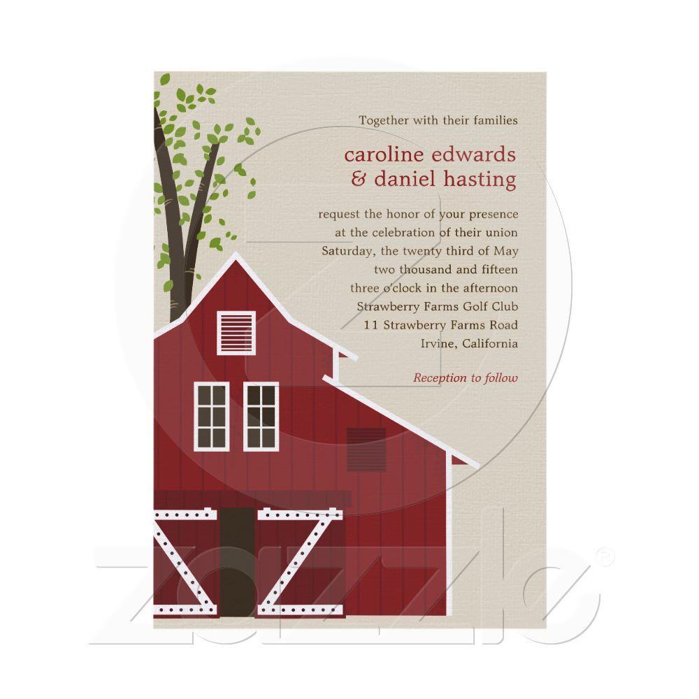 Rustic Barn Wedding Invitation from Zazzle.com | wedding ideas ...