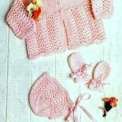 Baby Matinee Set Jacket Bonnet Mitts
