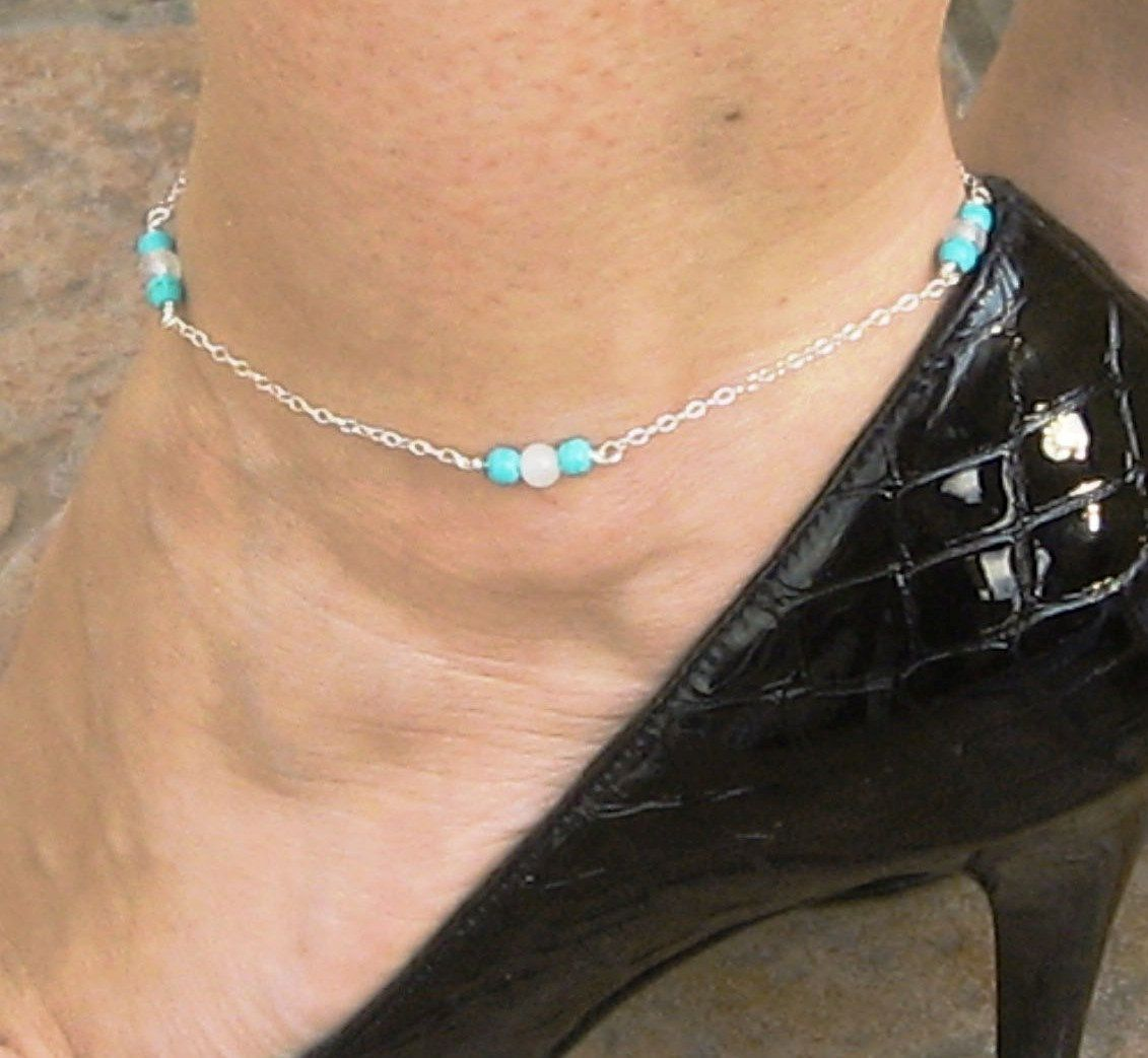 il friendship bracelets bridal boho chain anklet gift something wedding ankle listing turquoise sterling silver bracelet body fullxfull beach blue jewelry