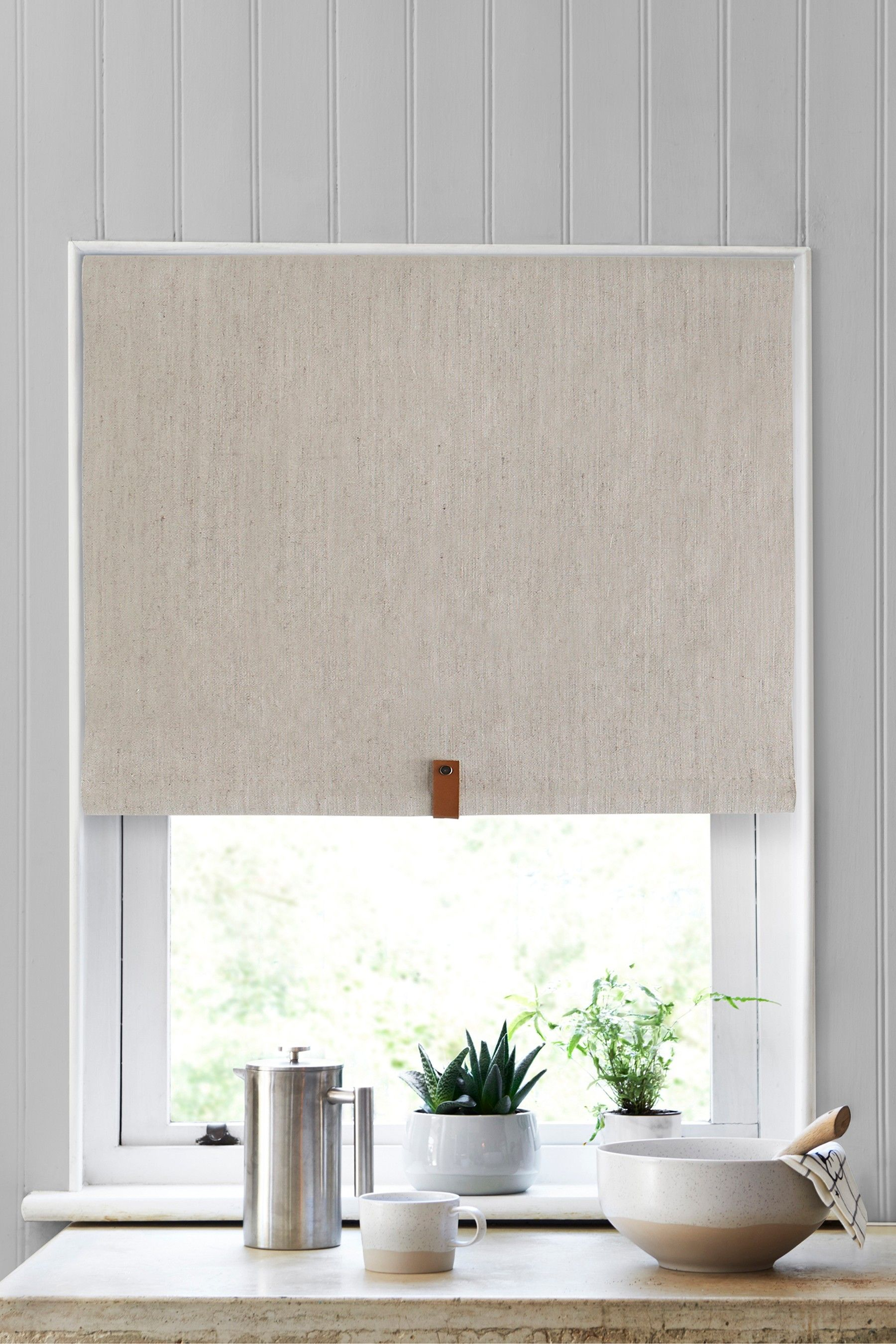 Next Linen Look Blackout Roller Blind Natural With Images
