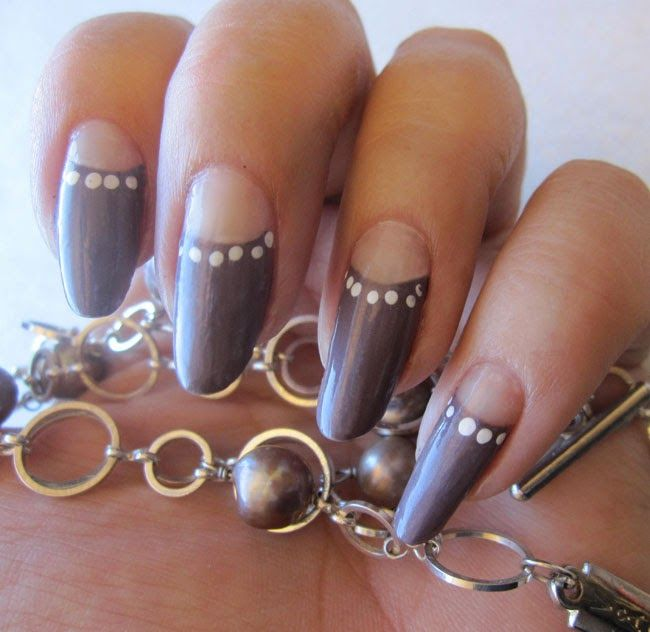 My nails with lovely grayish lilac and white dots www.funkyandfifty.blogspot.com