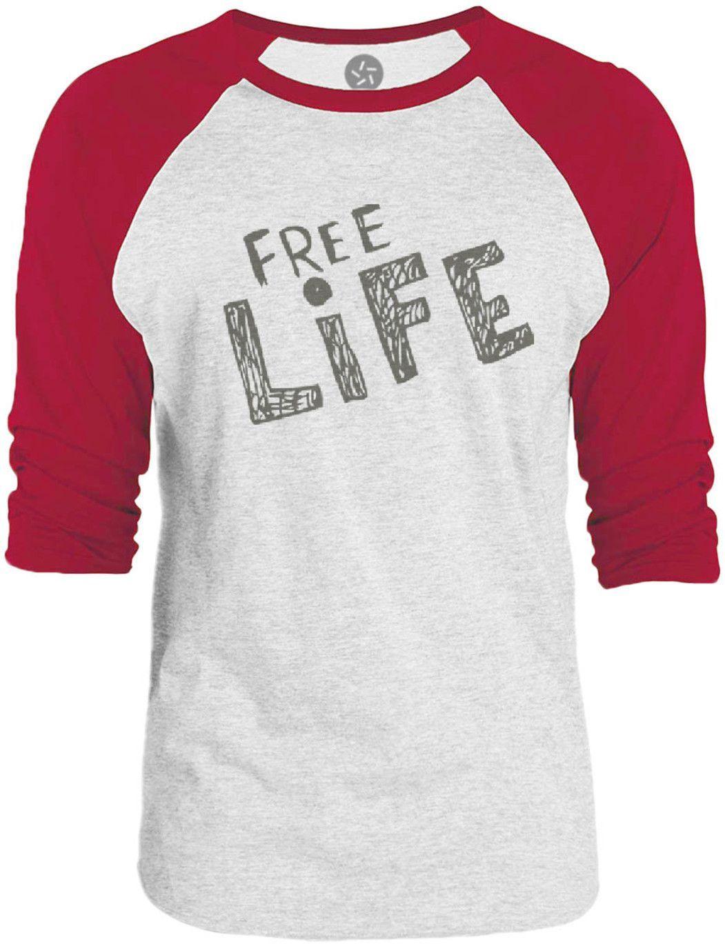 Big Texas Free Life (Grey) 3/4-Sleeve Raglan Baseball T-Shirt