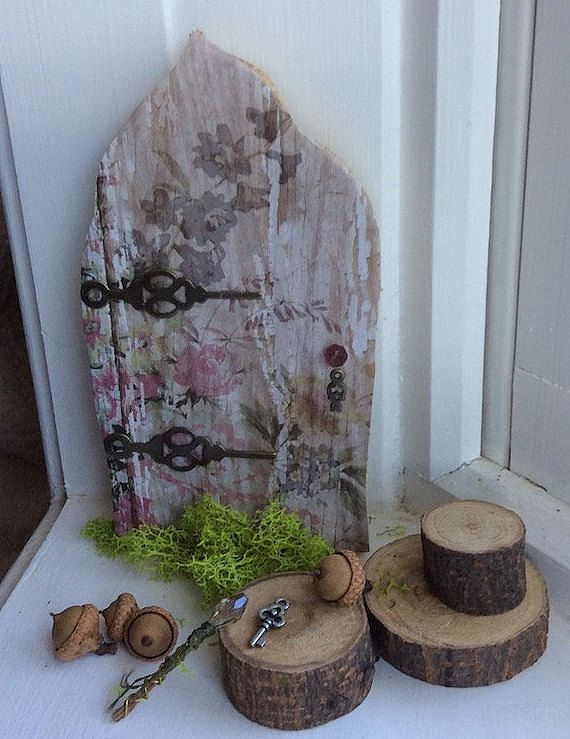 Fairy Door with Tiny Key  Each Hand Cut  by OliveNatureFolklore