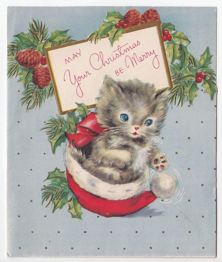 Vintage Greeting Card Christmas Cat Santa Hat American Greetings
