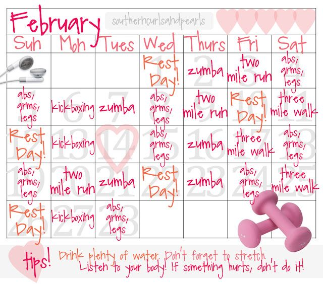 February workout calendar! Fitness and Health Pinterest