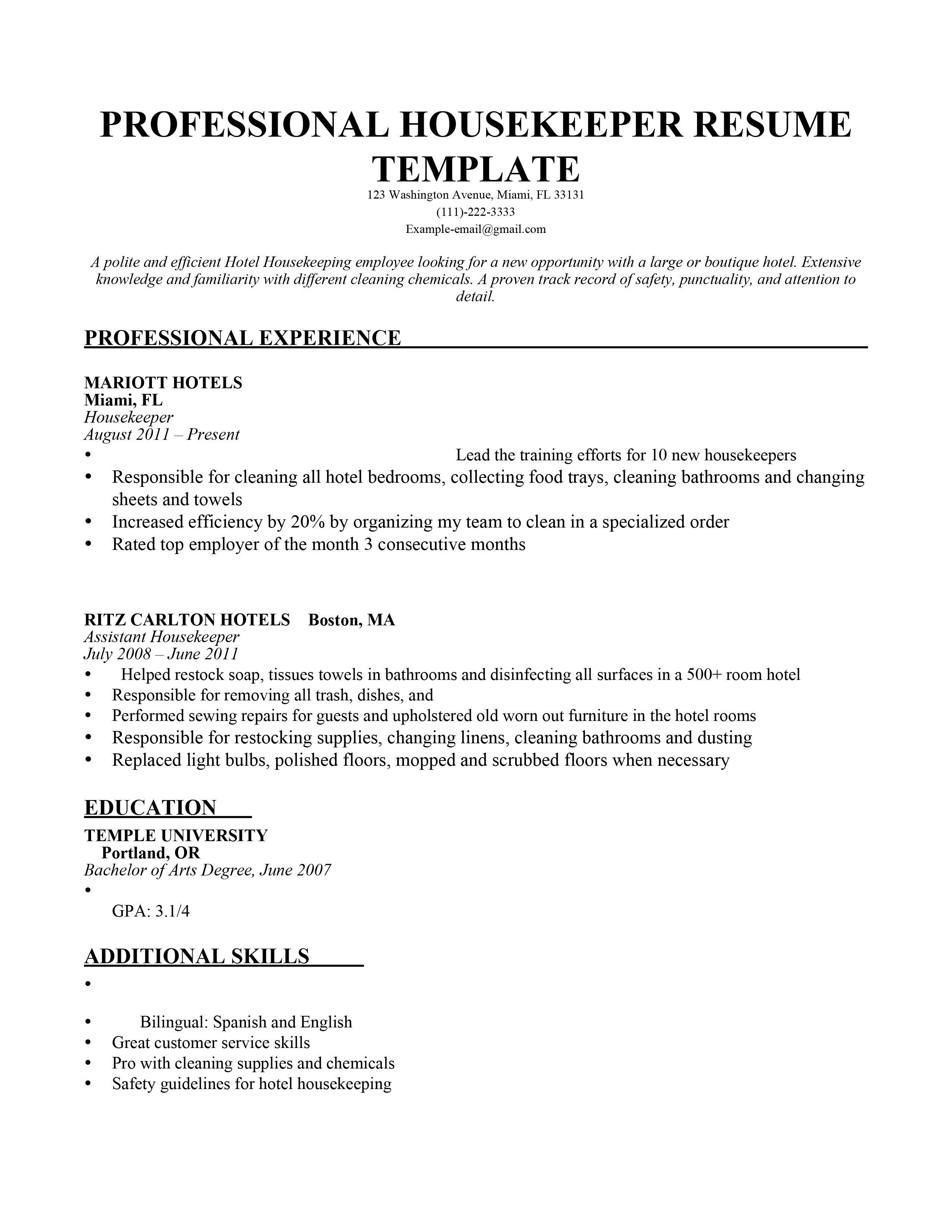 Resume Examples Housekeeping Pinterest Resume Examples Resume