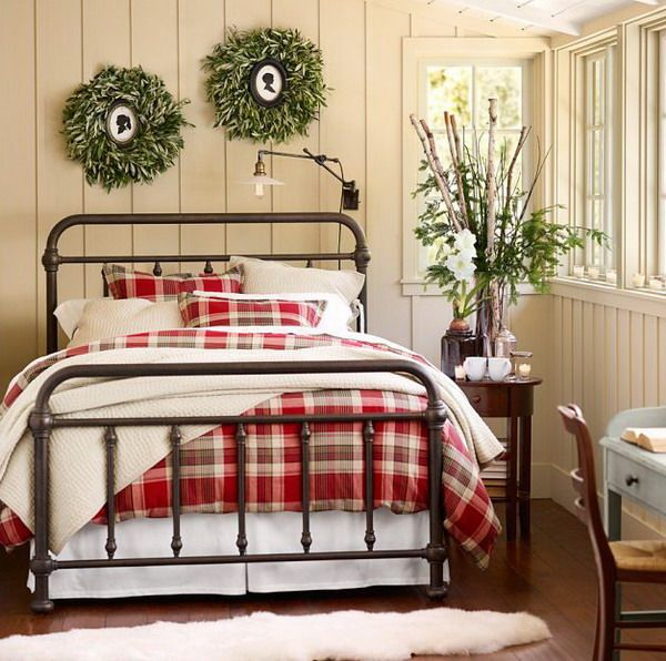 green metal bed with red wall country bedroom ideas with vintage rh pinterest com