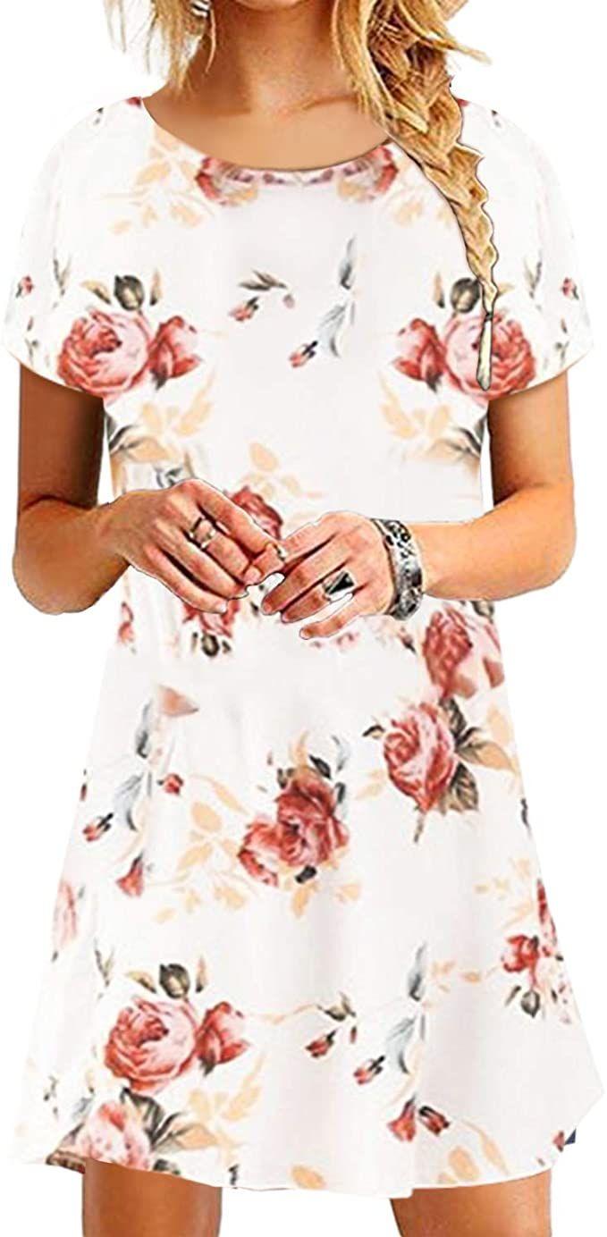 YOINS Damen Kleider Tunika Tshirt Kleid Kurzarm MiniKleid ...