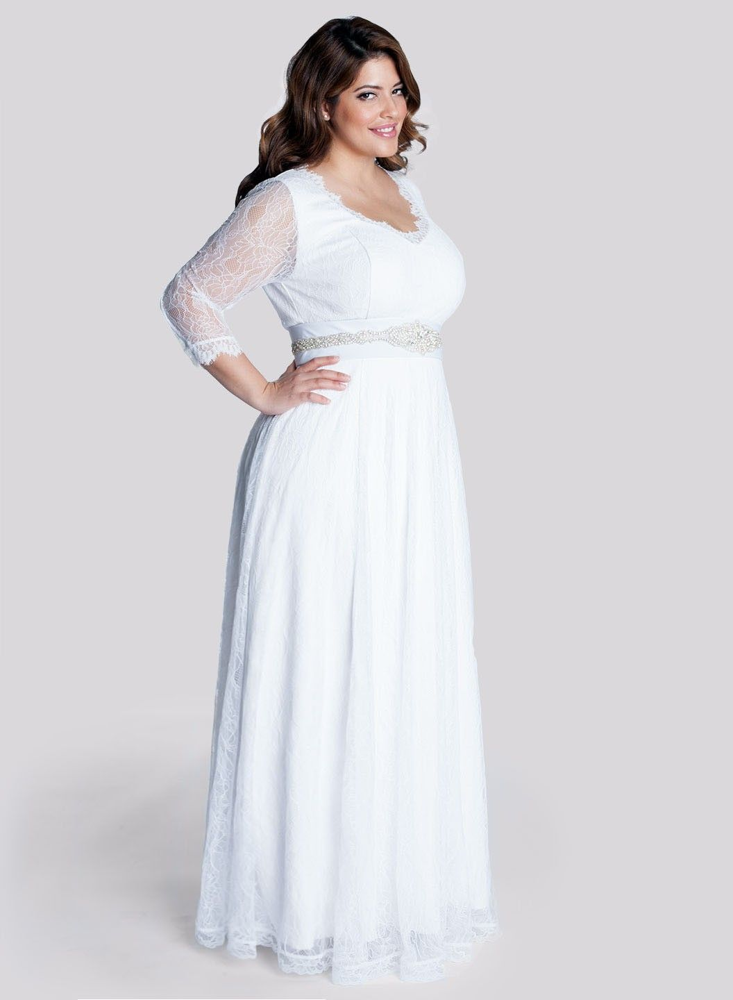 2015 Fall Long Sleeves Empire Plus Size Wedding Dress with Beading