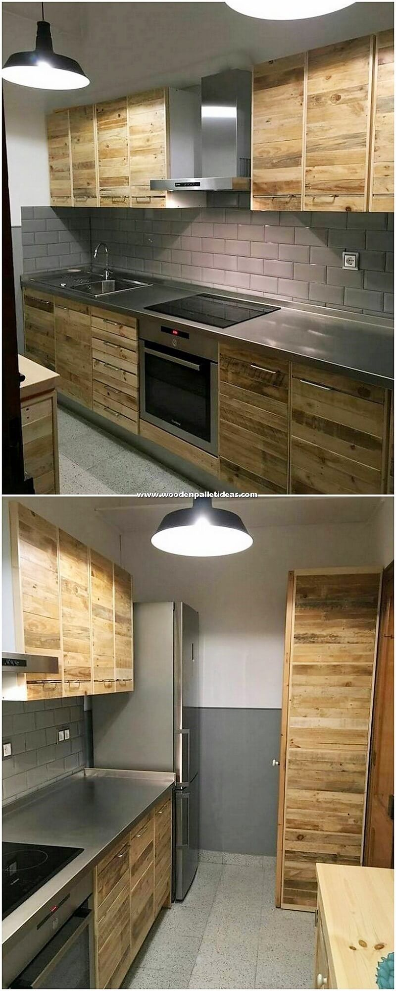 Let S Check Out The Flawless Designing Of The Kitchen Cabinets Where The Material Of The Wood Pallet Is Att Pallet Kitchen Rustic Kitchen Design Kitchen Design