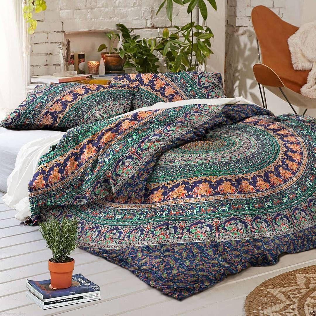 Buy Blue boho bedding multi Jumbo medallion mandala duvet