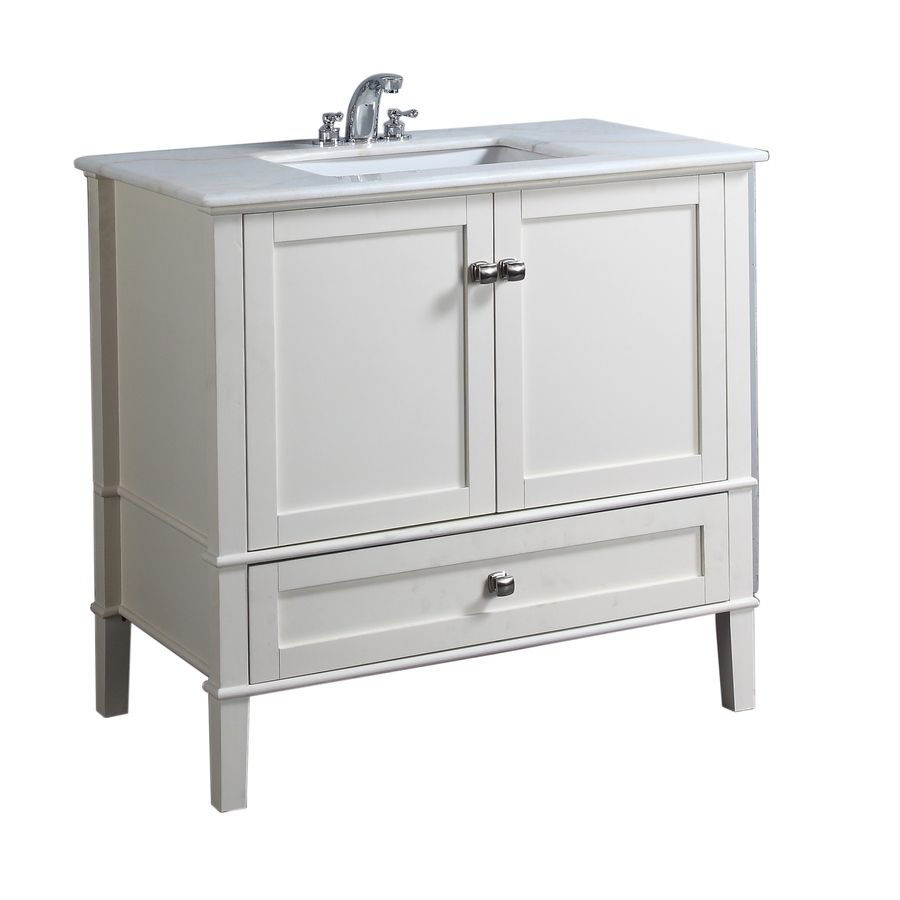 shop simpli home chelsea 37 in x 21 1 2 in white on lowes vanity id=52653