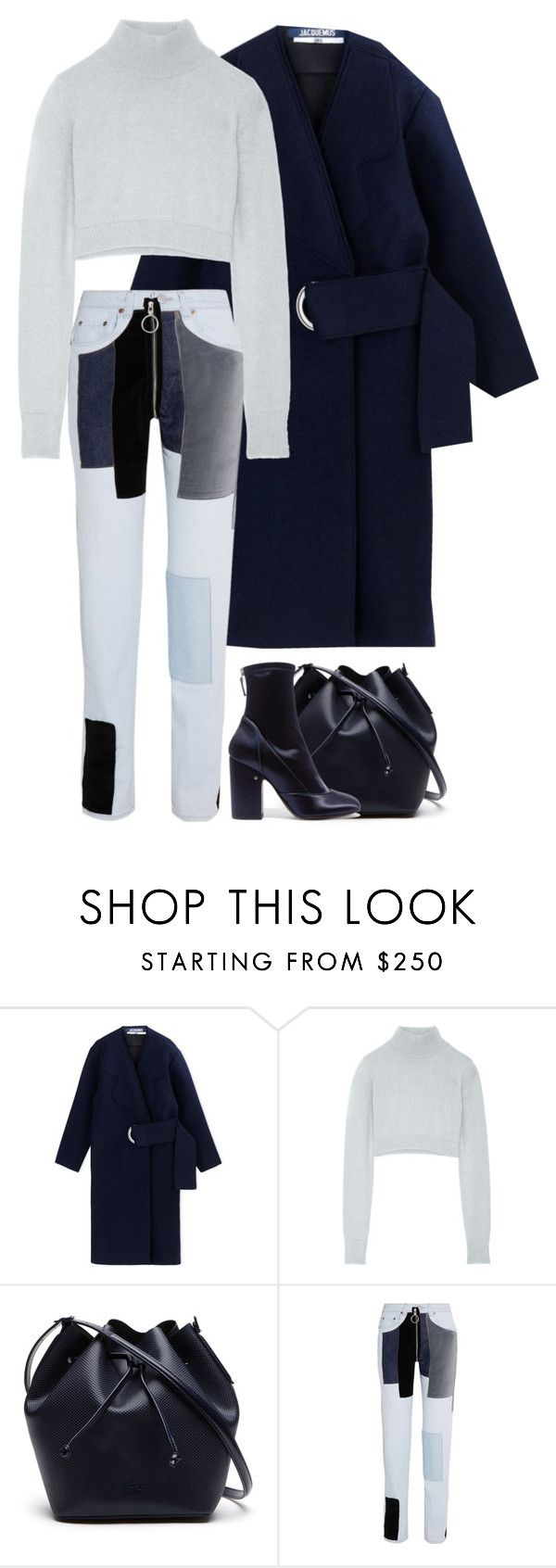 """""""Untitled #1300"""" by bettinakhrn ❤ liked on Polyvore featuring Jacquemus, Balmain, Lacoste, Off-White and Laurence Dacade"""