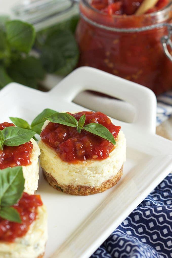 Mini Basil Parmesan Cheesecakes With Tomato Jam The Suburban Soapbox Recipe Savory Cheesecake Tomato Jam Food
