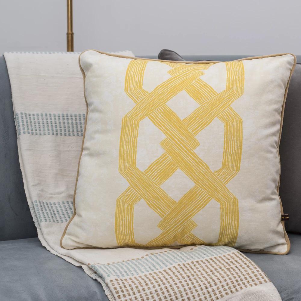 Gabi Ethiopian Throw Blanket Sand In 2020 Throw Blanket African Design Yellow Pillows