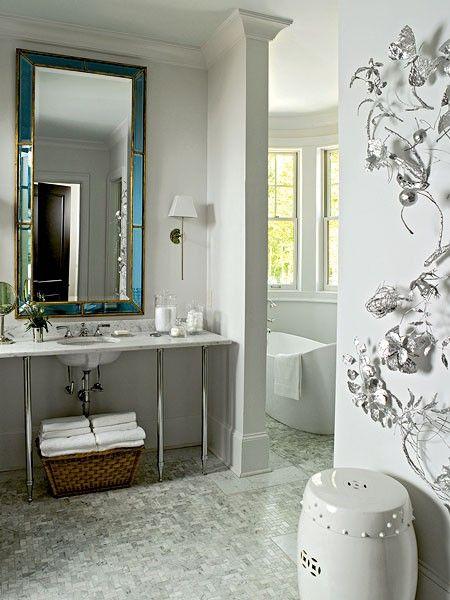 Stone mosaic tiles - marble in bathroom.