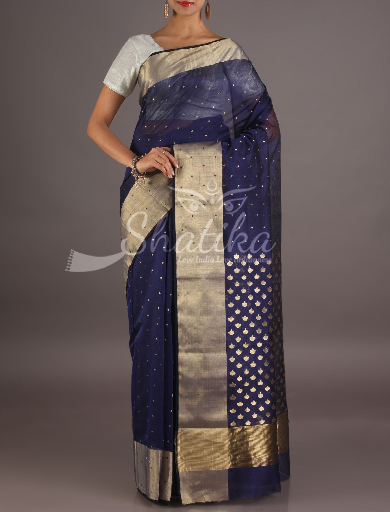 65535e7fa Manjula Dazzling Dots On Navy Blue Chanderi Silk Cotton Saree ...