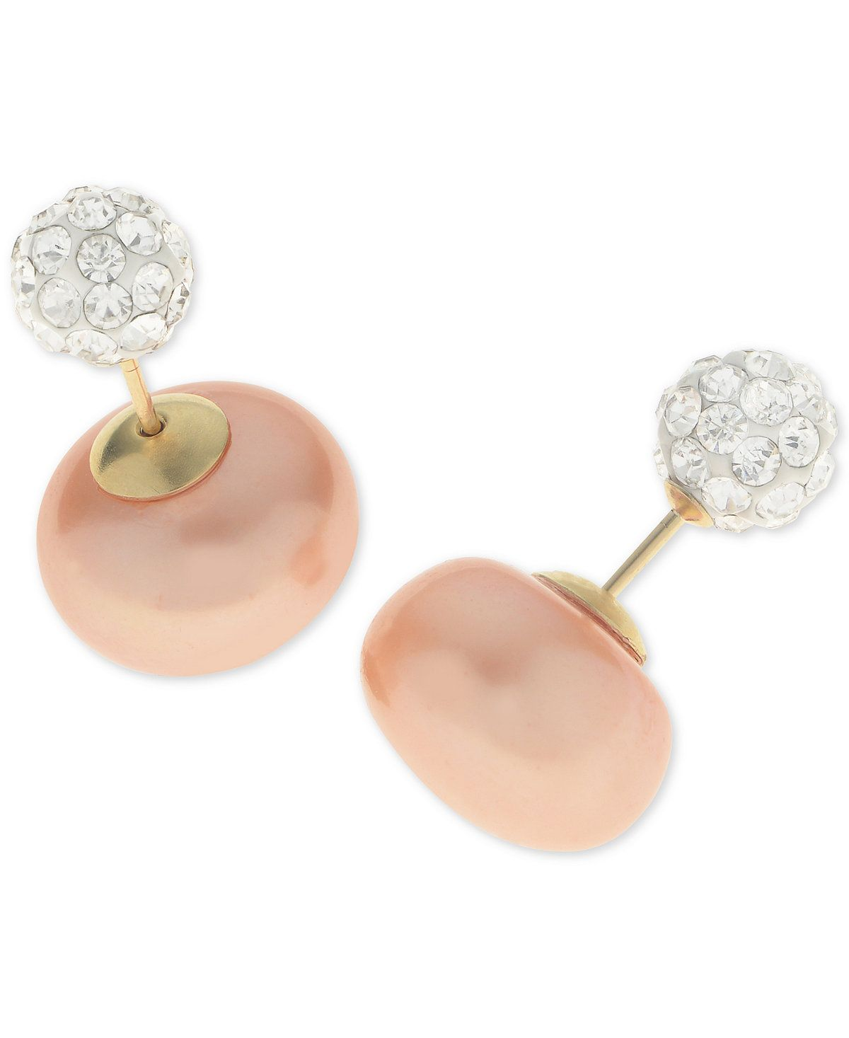 Dyed Pink Cultured Freshwater Pearl (11mm) And Pavé Crystal Ball Front And  Back Earrings In 14k Gold