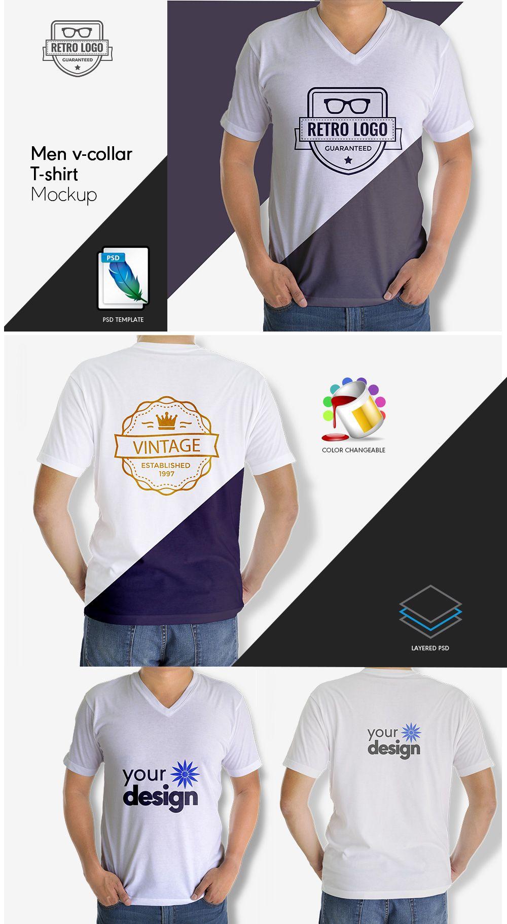 Download Men V Collar T Shirt Mock Up Psd Template Designertale Shirt Mockup Tshirt Mockup Mockup Psd