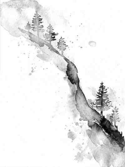Gorgeous Mountainside Forest Watercolor In Black And White