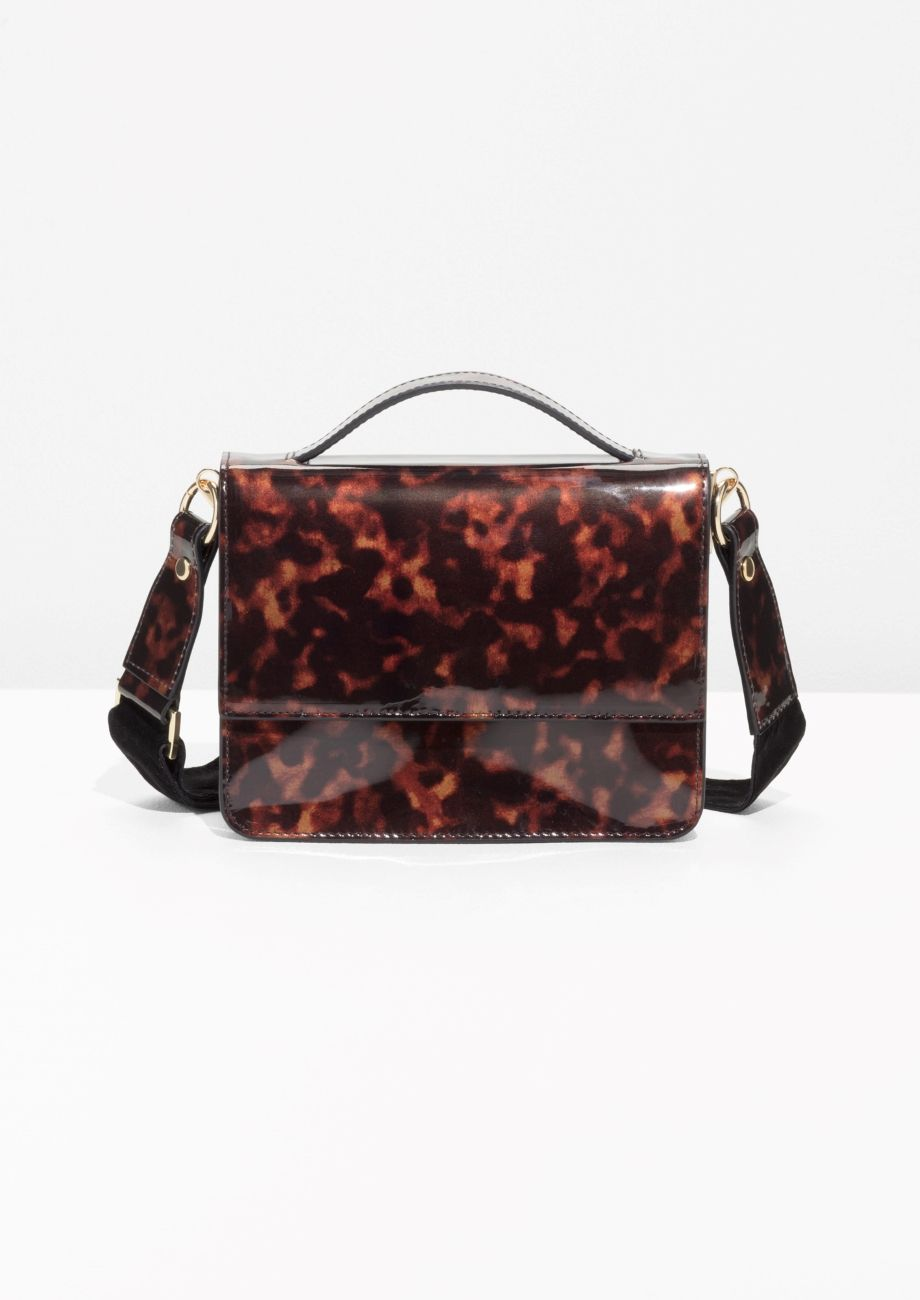17b8007e1f7   Other Stories Patent Leather Tortoise Shell Mini Bag in Tortoise ...