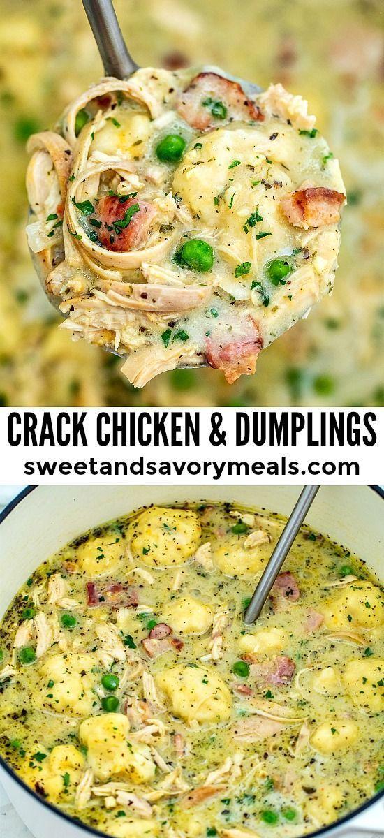 Knacken Sie Huhn und Knödel #healthycrockpotchickenrecipes