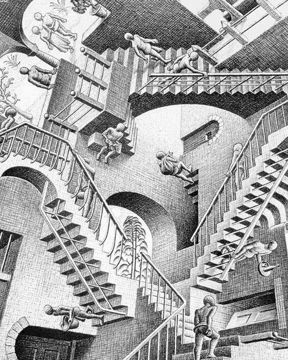 Afbeelding Kan Het Volgende Bevatten Buiten Escher Art Mc Escher Art Escher Paintings