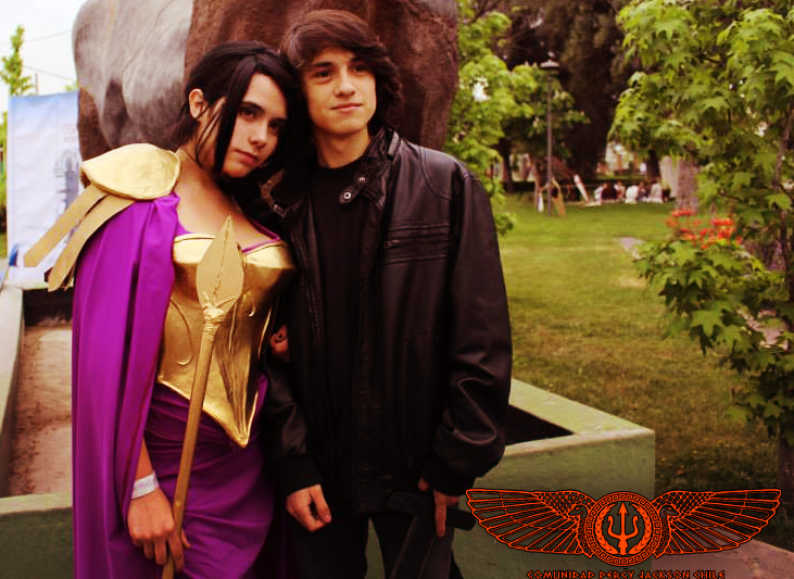 Reyna and Nico Di Angelo cosplay. Reyna isn't how I imagined but that's ok. However, Nico looks pretty darn close. Woah cut me off a piece of that action ;)