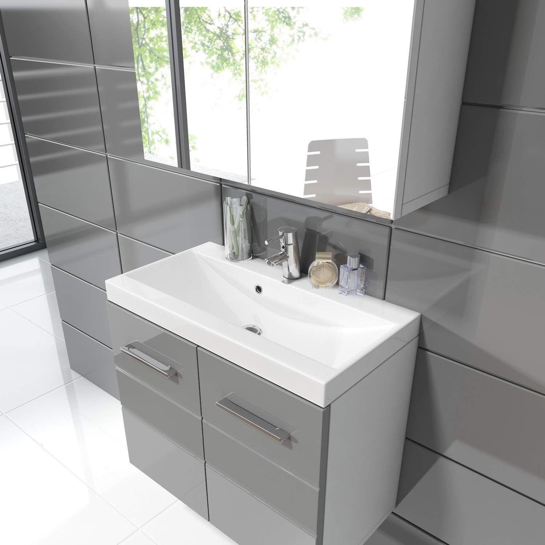Badezimmer Badmobel Toledo 02 60 Cm Waschbecken Hochglanz Grau Unterschrank Schrank Waschbecken Spiegelschrank Schran In 2020 Unterschrank Waschbecken Spiegelschrank