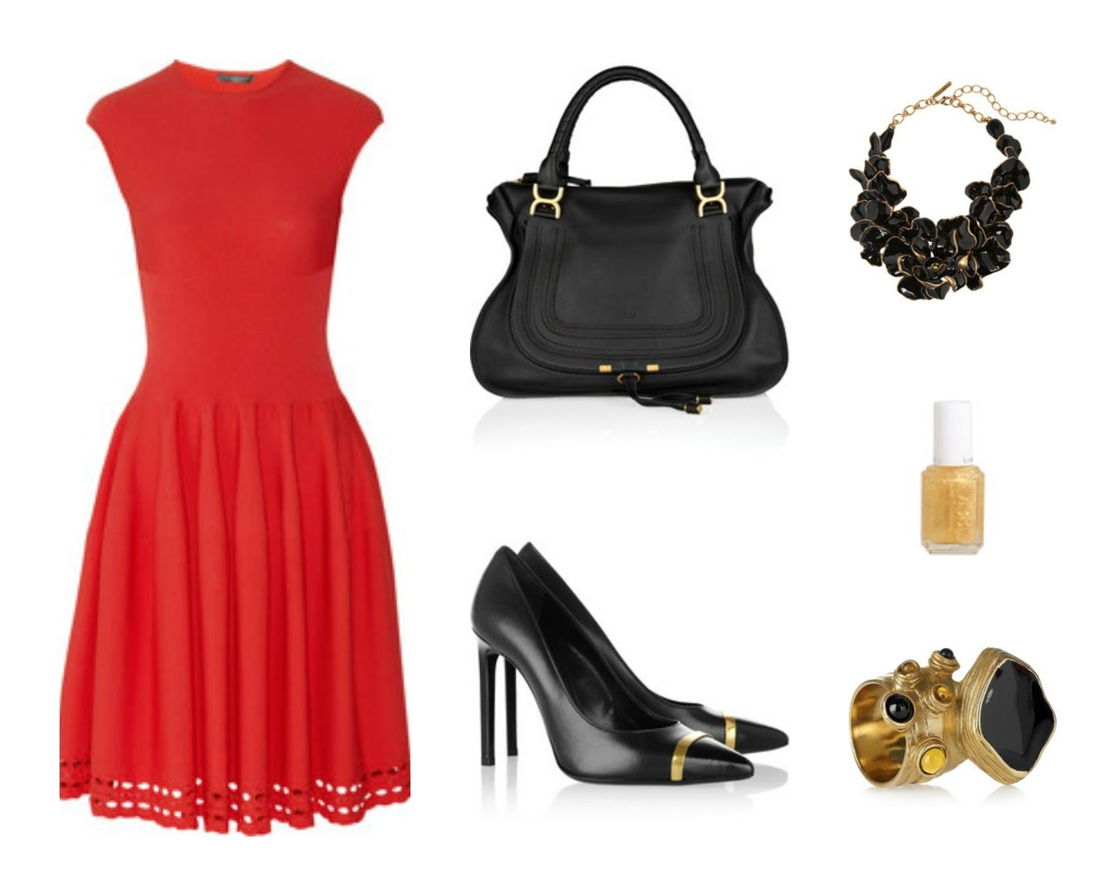 Black Gold Accessories Are A Chic Way To Jazz Up A Simple Little Red Dress Little Red Dress Red Dress Fashion [ 1284 x 1600 Pixel ]