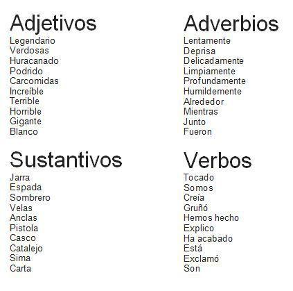 Adjetivos, adverbios, sustantivos y verbos. | Adverbios, Verbos y El ...