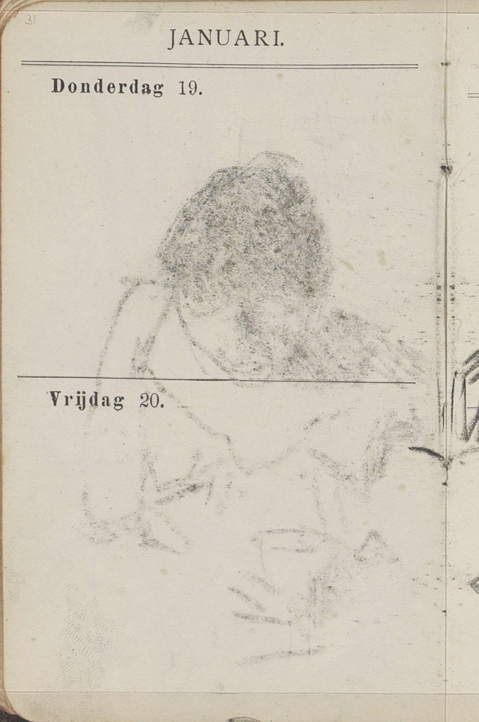 George Hendrik Breitner | Pagina 31: Blanco, George Hendrik Breitner, c. 1893 | Geen voorstelling, alleen gedrukte gegevens. Pagina 31 uit een als schetsboek gebruikte agenda met 108 bladen.