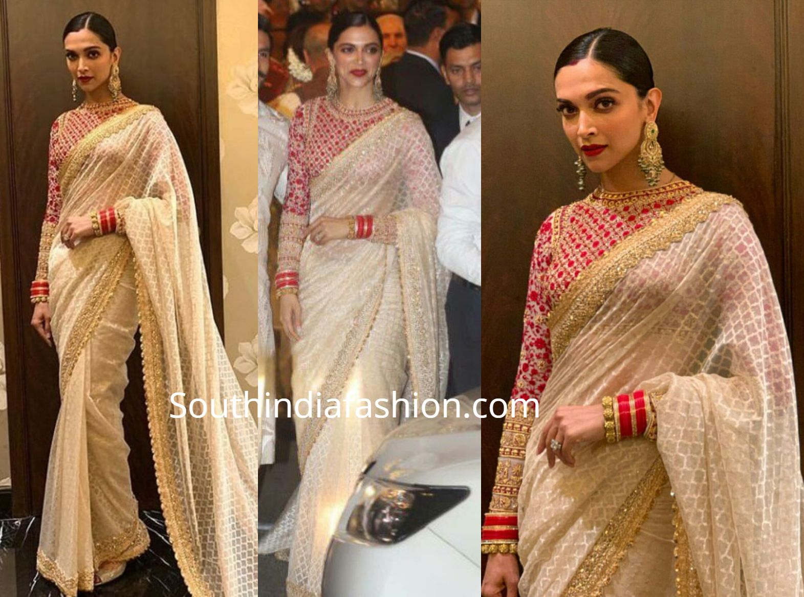 Deepika Padukone And Ranveer Singh At Isha Ambani S Wedding Off White Saree Saree Look Indian Saree Blouses Designs