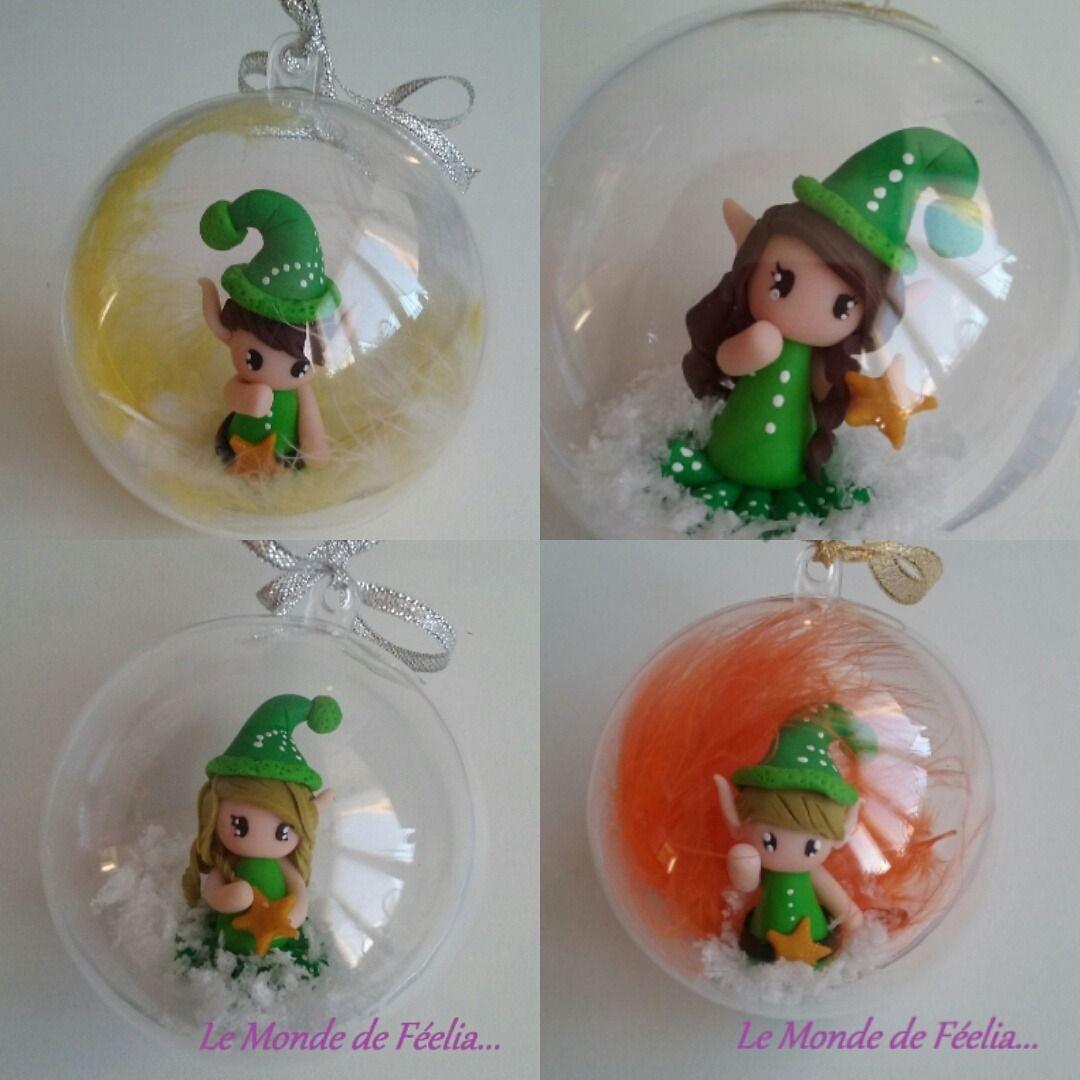 Boule De Noel En Fimo Boule de Noël Lutin et Lutine, efles vert en pâte polymère style