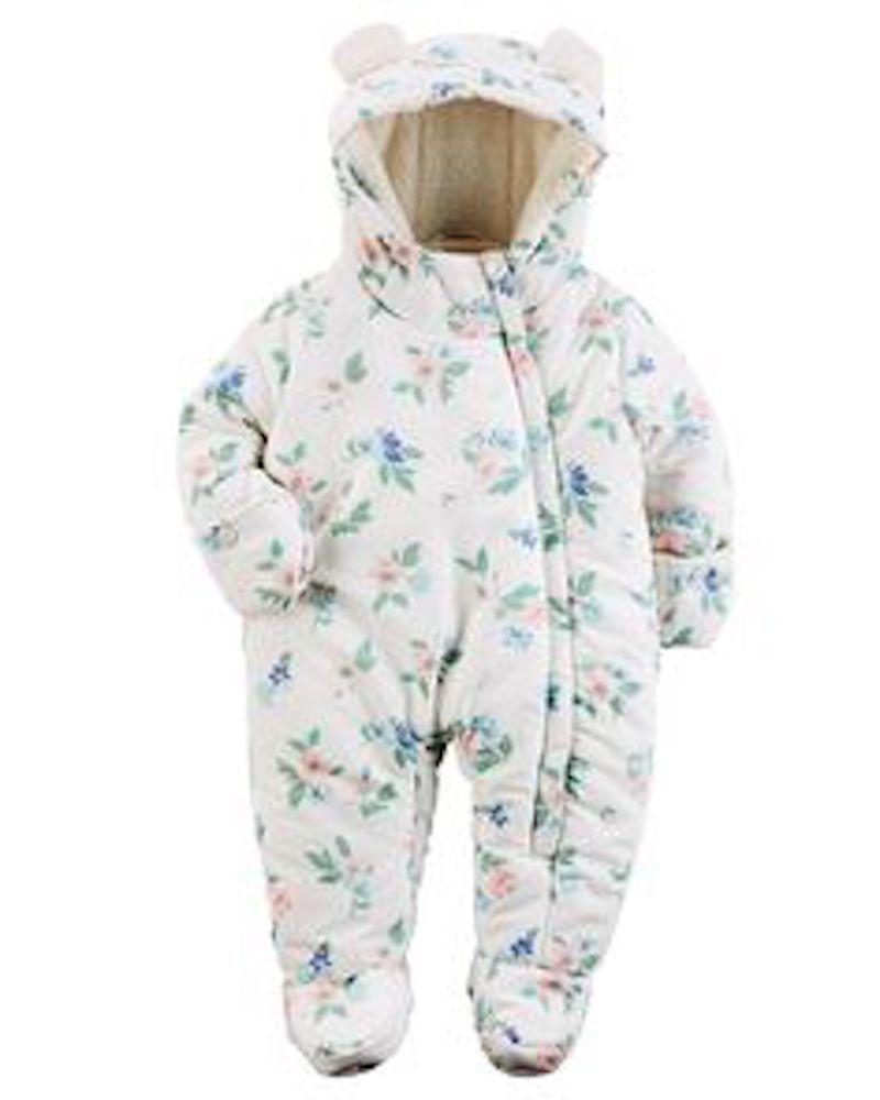 8cd3042c9 Carter s Baby Girl s Floral Pram   Snowsuit 3-6 Months. Faux Fur ...