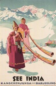 """""""SEE INDIA - Kangchenjunga Darjeeling"""" Vintage Travel Poster"""