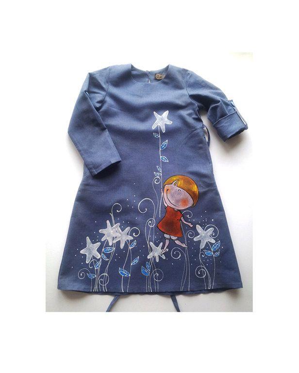 Robe de demoiselles en gris-bleu couleur-lin peints par ...