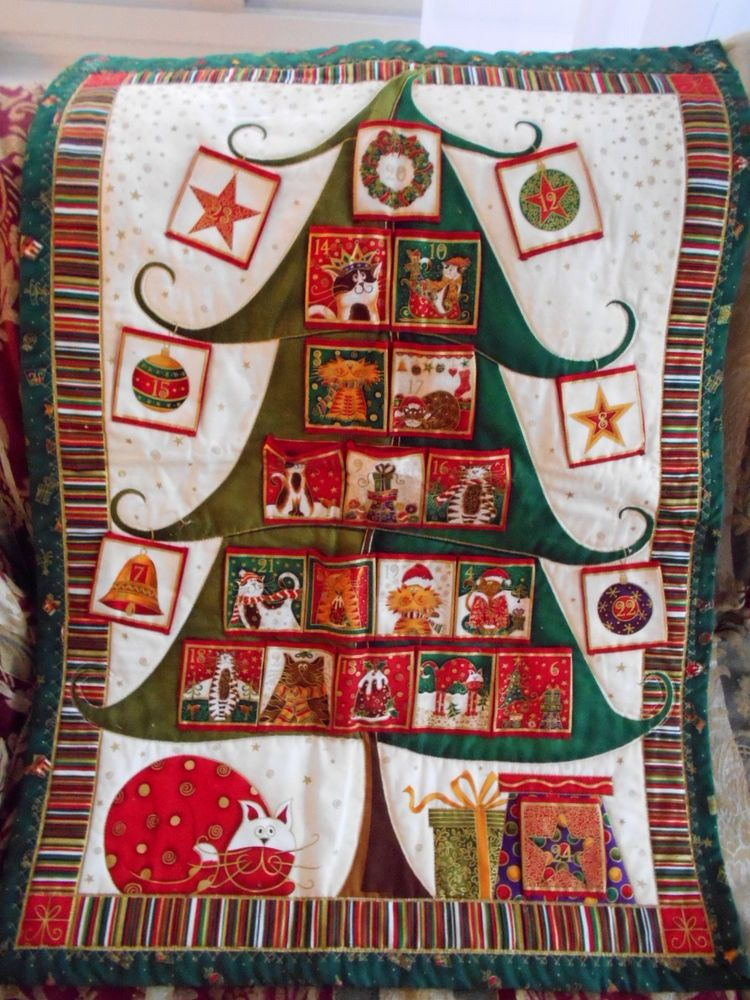 Kitty Cat Advent Calendar Christmas Quilt Holiday Wall