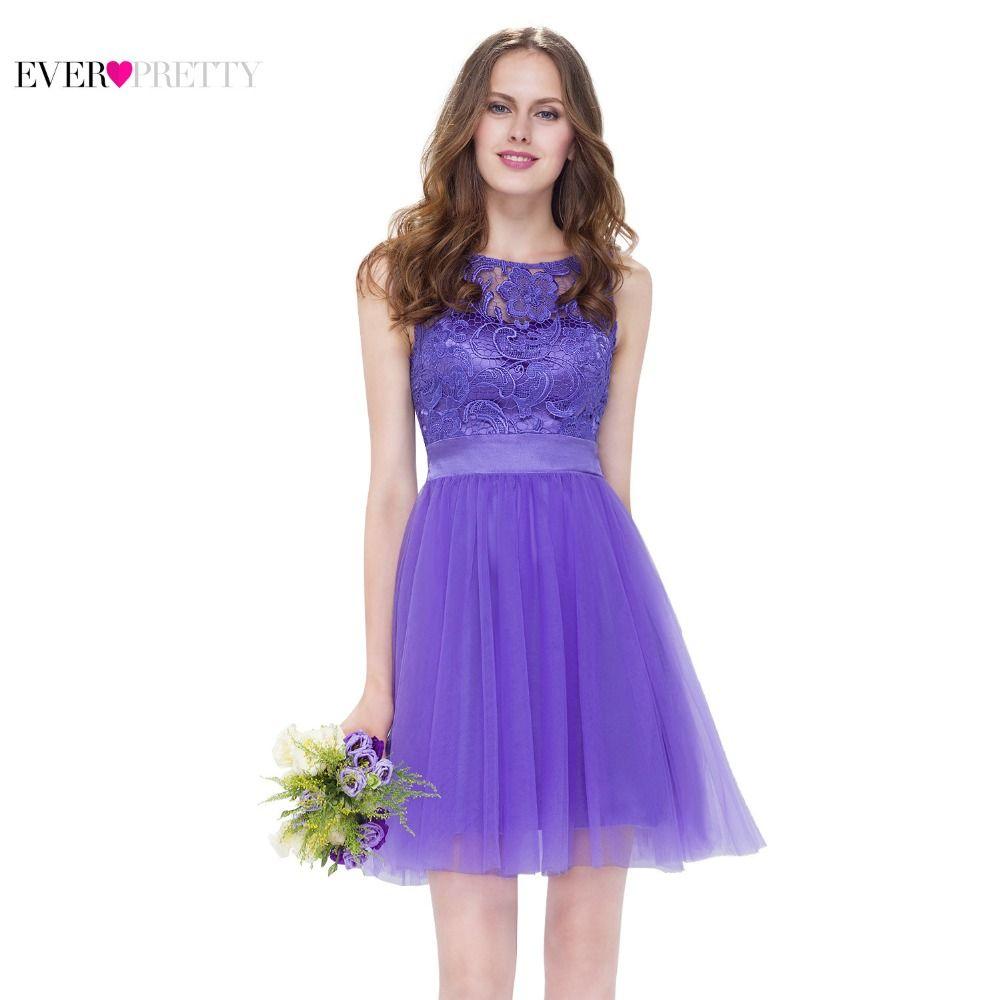 Corto de la Lila de dama de Honor Vestidos de Púrpura EP05496PW ...