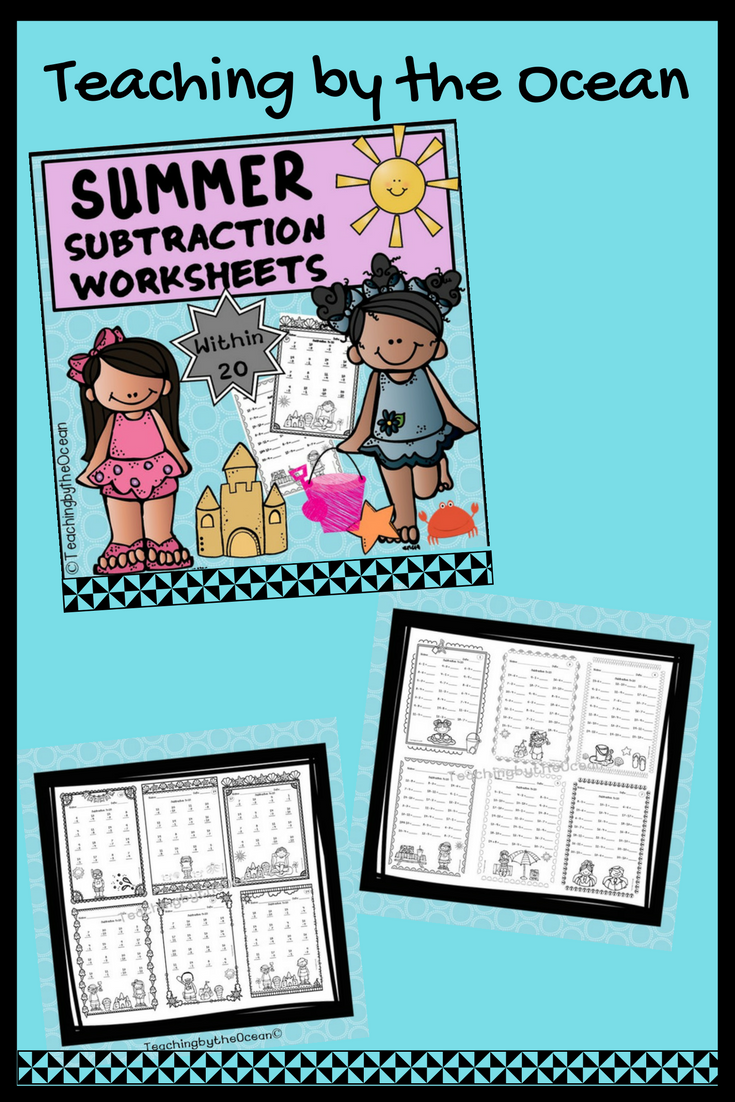 Summer Subtraction to 20 Fact Fluency | Morning work, Homework and ...