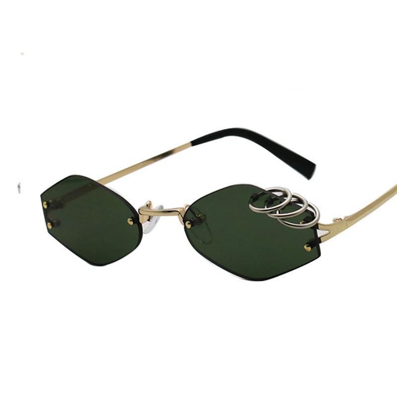 Unique Iron Rings Decoration Unisex Rimless Sunglasses In