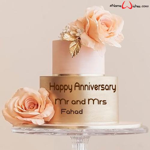 Beautiful Flower Anniversary Cake with Name Anniversary