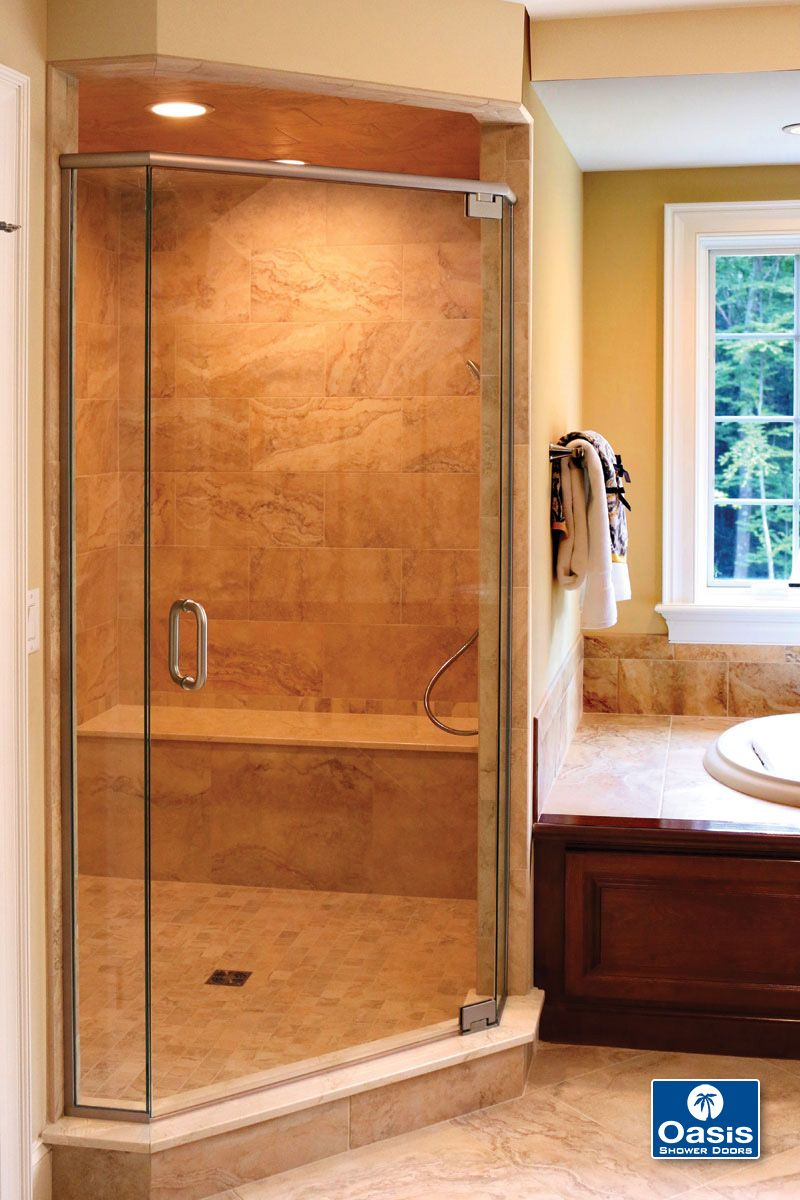 Oasis Frameless Neo Angle Shower With Header And Pivot Hinge System Door Swings Both Ways Pulls To The Closed Position When Within 5º 15º Of Closing