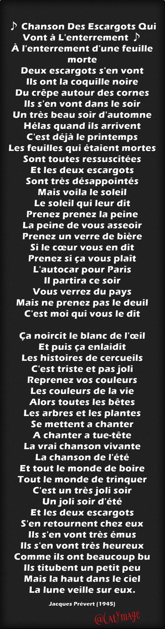 Jacques Prévert Chanson Des Escargots Qui Vont A L'enterrement : jacques, prévert, chanson, escargots, l'enterrement, Chanson, Escargots, L'enterrement, D'une, Feuille, Morte, Il…, Jacques, Prevert, Poeme,, Chanson,, Poeme