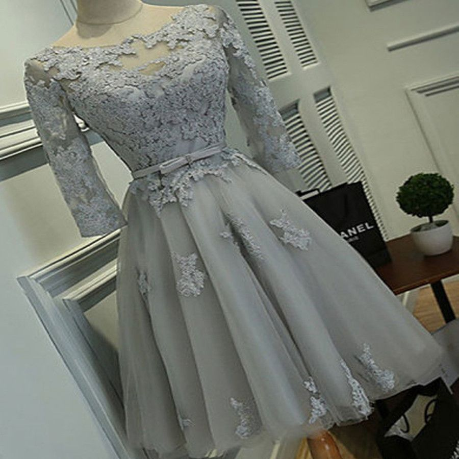 Grey Lace Tight Simple Lovely With Half Sleeve Elegant