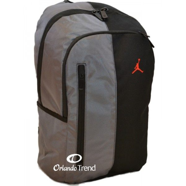 air jordan gray backpack with brown