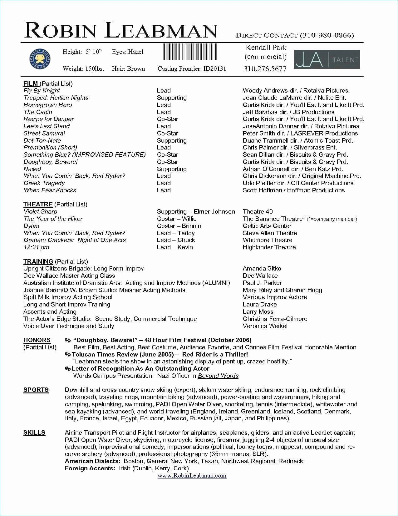 Acting Resume Templates for Microsoft Word Unique Download